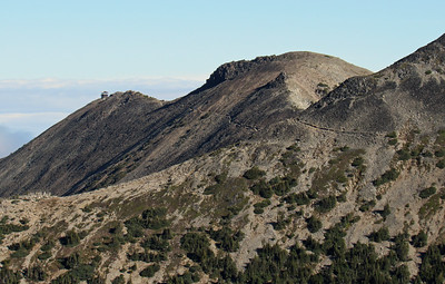 Mt. Fremont Lookout Trail and the lookout itself as seen from the trail to teh First Burroughs Mountain. Taken by Shannon Campbell.