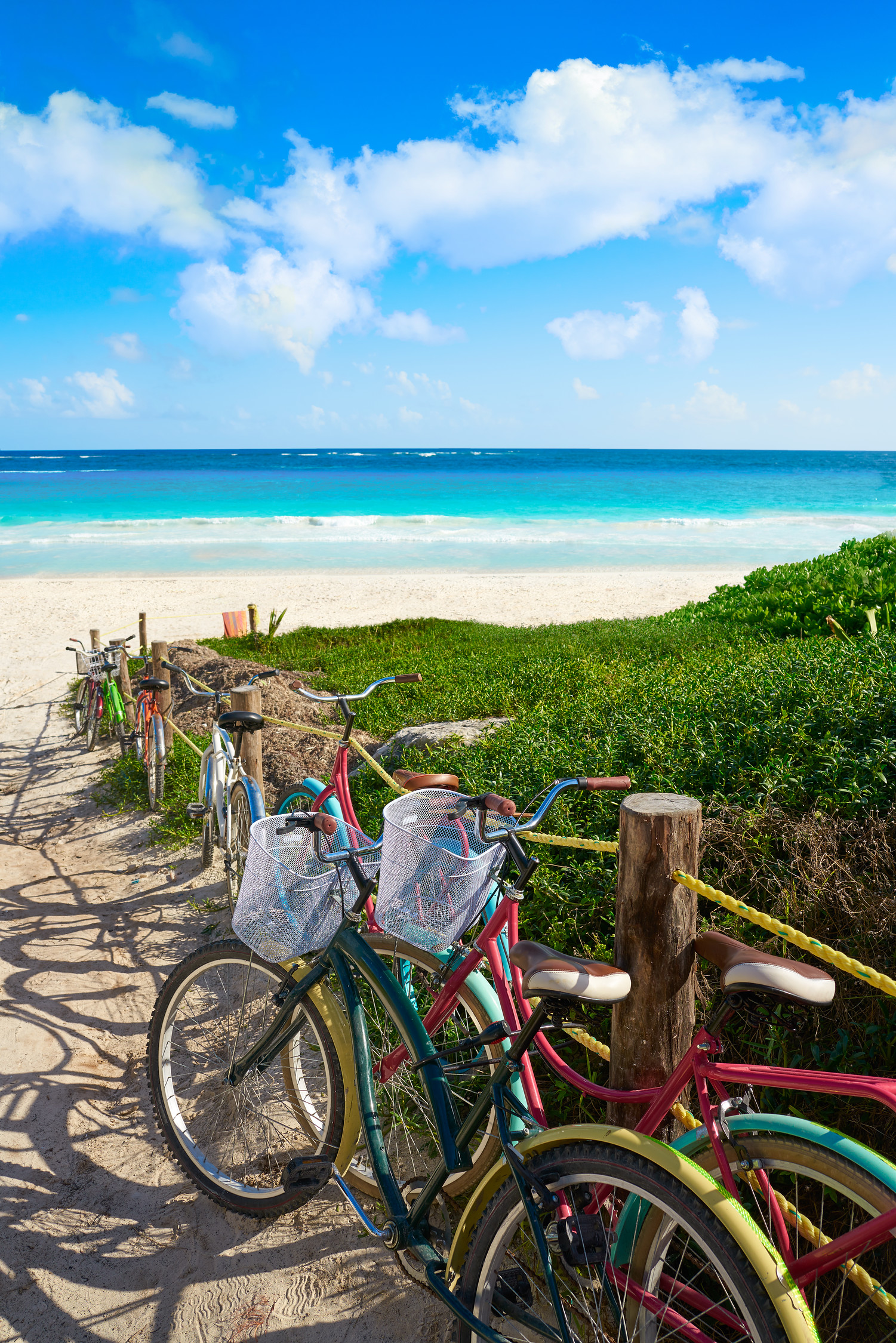 Bicycles on Tulum beach in Mexico