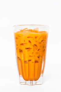Thai ice tea milk in vintage glass
