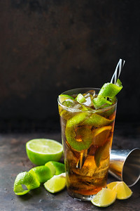 Cuba Libre Alcohol Cocktail Drink With Rum, Cola, Ice, Lime