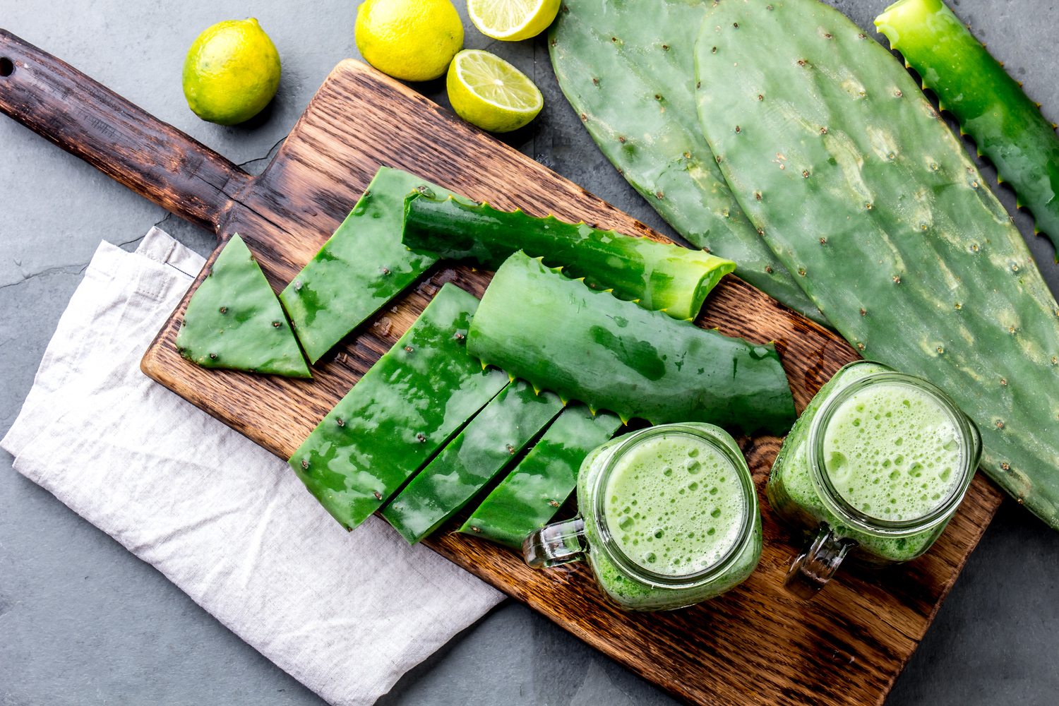 Jugo verde or green juice in Mexico with cactus is a popular smoothie