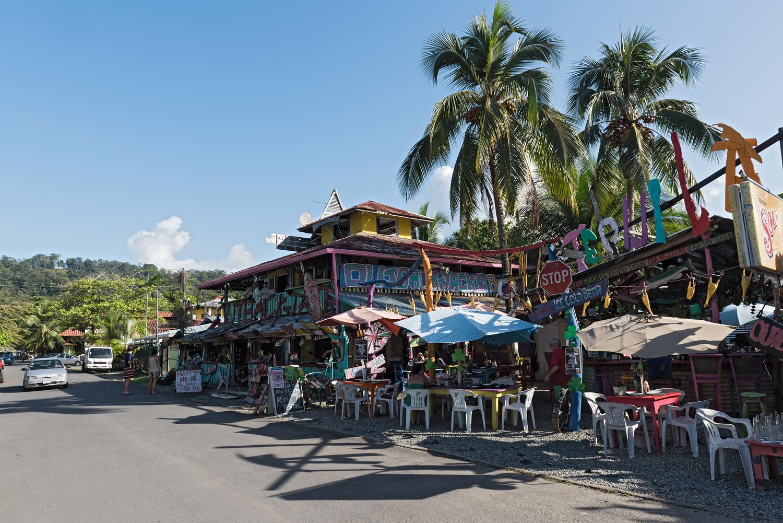 Restaurants on the street in Puerto Viejo Costa Rica