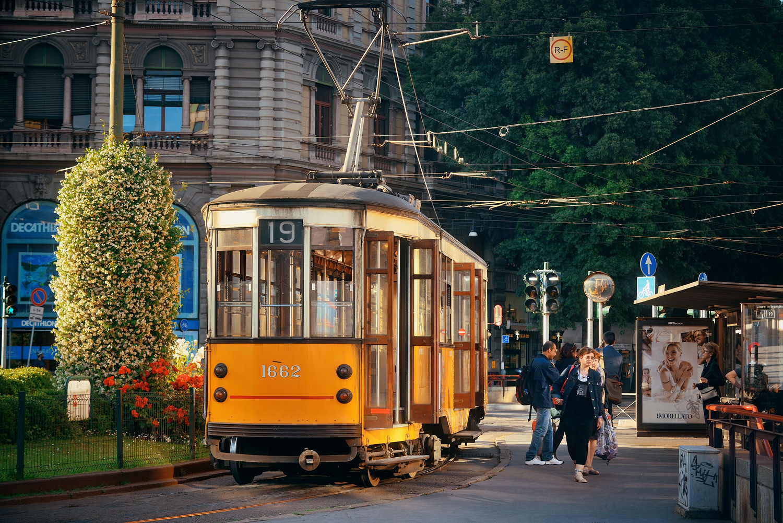 Street car trolley system in Milan