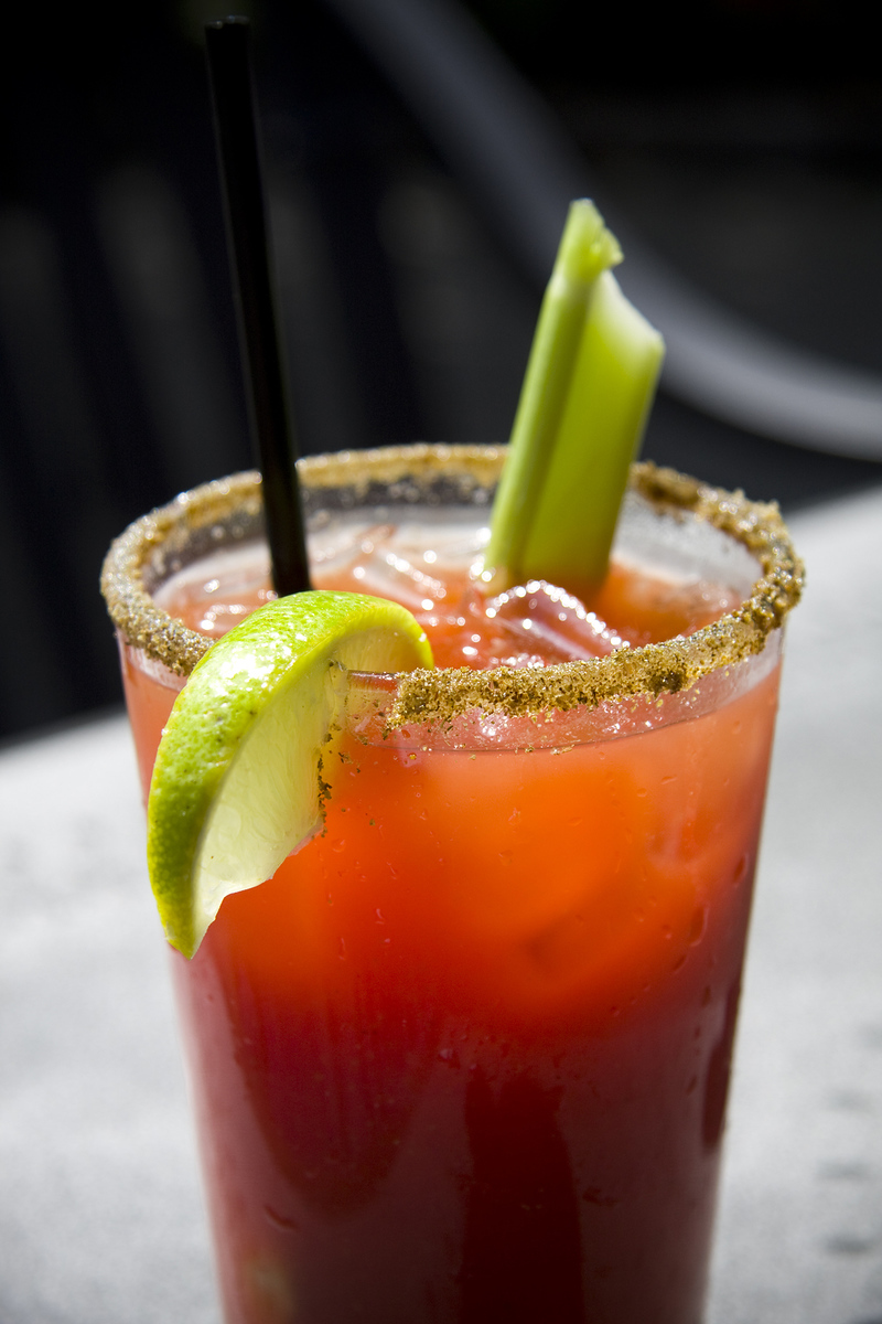 Canadian caesar drink on a black background