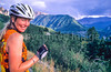 Biker in Colorado's San Juan Mts  on CO 145 between Telluride & Ophir - 3-2 - 72 ppi