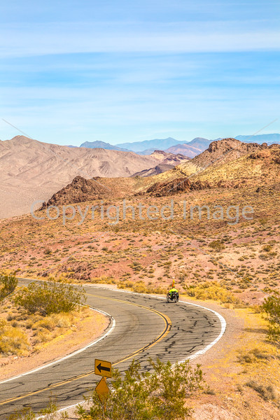 Cyclist near Salsbury Pass in Death Valley National Park, California - D5-C3-0081 - 72 ppi
