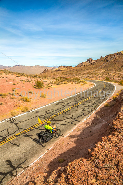 Cyclist near Salsbury Pass in Death Valley National Park, California - D5-C3-0063 - 72 ppi