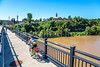Cyclist on bridge over Missouri River at Hermann, Missouri - C3-0096 - 72 ppi