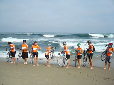 2008 06-16 8:28AM - FCH Bike Adventure Riders Dip Rear Wheels in the Pacific. ri