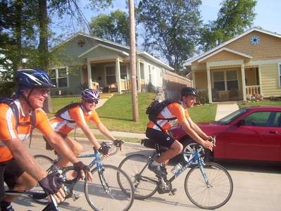 08 07-20 Shreveport, LA - Bikers ride into Allendale neighborhood with the first 3 houses that were built (completed 2006) showing in background. bb