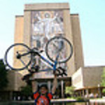 09 07-13 Ryan Iafigliola raises his bike to his alma mater, University Notre Dame. ec