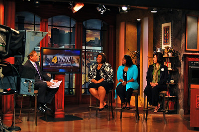 "2010 08-04 - L-R: Katrina, Beverly Black and Tamara Danel interviewed by New Orleans television to promote cyclists completing their 2500-mile ride from Niagara Falls, NY to New Orleans along with a ""Jammin' for Fuller Center"" fundraising event at ""The Howlin' Wolf."" ksf"
