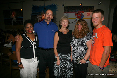 2011 08-12 Bike Adventure Dinner Celebration in Washington, DC. From left: Beverly Black, Geico's Joe Dixon, Linda Fuller, Jeanine Dixon, Allen Slabaugh. (Scott Umstattd photo)