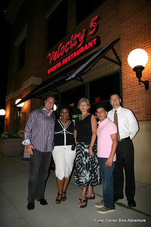 2011 08-12  Bike Adventure Dinner Celebration in Washington, DC. From left: Velocity 5 owner Jim Speros, Beverly Black, Linda Fuller, Velocity 5 manager Jon Stryker, Velocity 5 manager Mike Stringfellow. (Scott Umstattd photo)