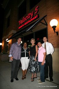 2011 08-12  Bike Adventure Dinner Celebration in Washington, DC. From left: Velocity 5 owner Jim Speros, Beverly Black, Linda Fuller, Velocity 5 manager Jon Stryker, Velocity 5 manager Mike Stringfellow. (Scott Umstattd photo)