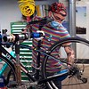 BEN GARVER — THE BERKSHIRE EAGLE<br /> Zach Bellows repairs a road bike at Plaine's Bike Ski and Snowboard. Employees at Plains disinfect bikes going into and out of the shop.   Friday, April 24, 2020. Mitch Plaine has a plan for opening retail, the store is zoned now to keep employees safe and floor space has been cleared for social distancing in the shop but he is not willing to put a date on opening until safety can be assured.