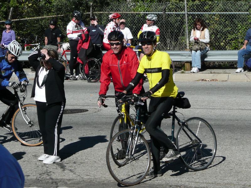 Joel, in red, ponders his fate with the other riders.