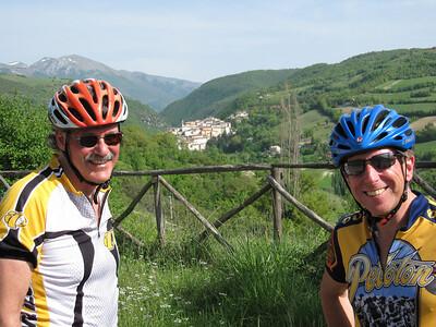 Campsite at Il Collaccio with Preci in distance