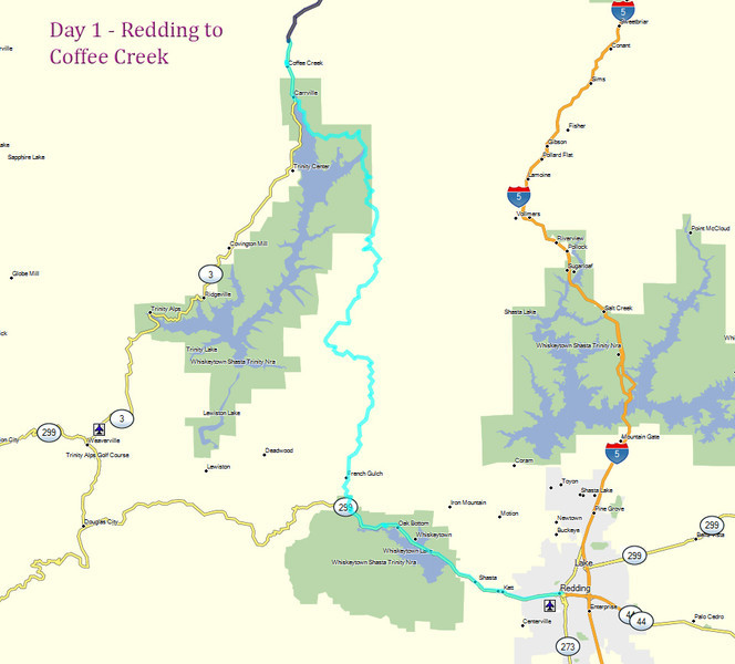 Day 1 - Redding to  Coffee Creek
