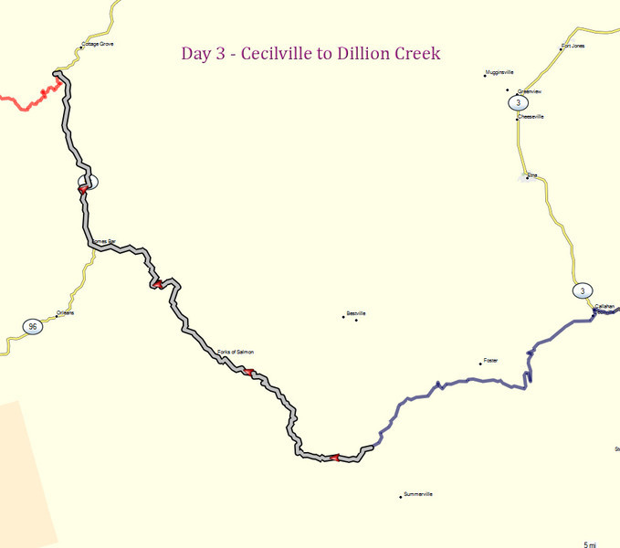 Day 3 - Cecilville to Dillion Creek map