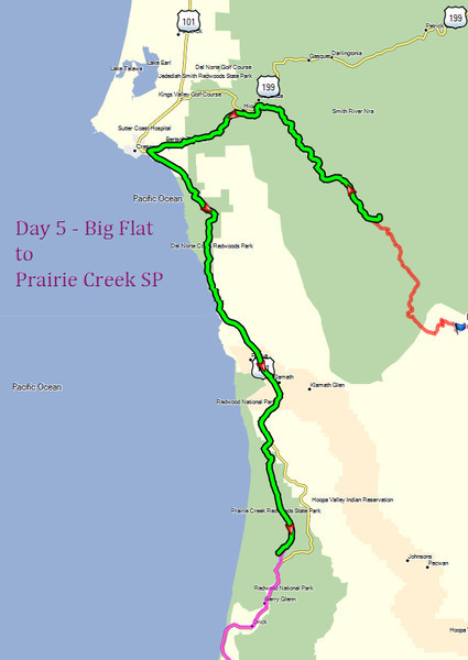 Day 5 - Big Flat to Prairie Creek SP map