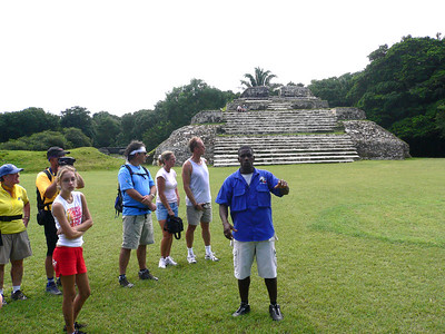 Oscar telling us about the history of Altun Ha