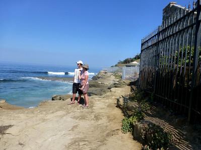 Waves rocks fences N at shore access  LJ Coast 120818 P2500722