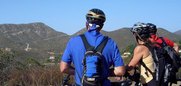 Paul Carol Jerry comtimplating climb up Del Dios Highlands Preserve 071021 P1160384