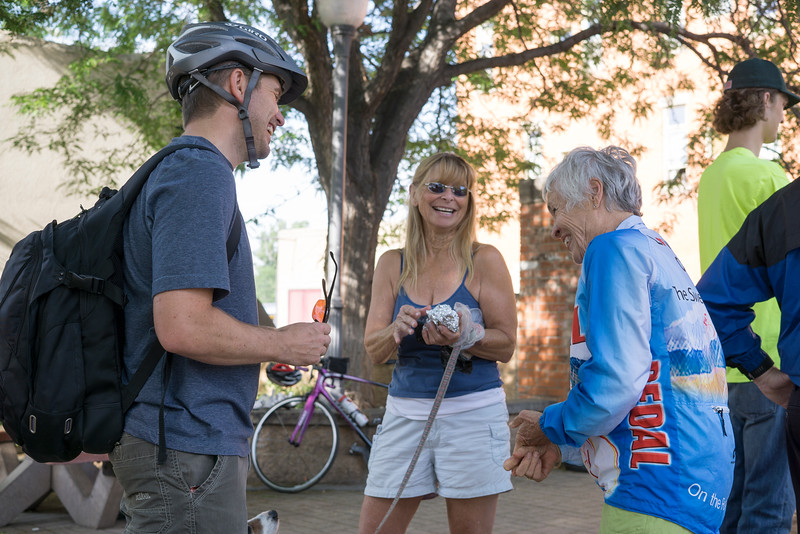 From left, Doug Collins, Suzanne Stratford and Janet Armstrong talk amongst each other at the Pocket Park Stop on Fourth Street and Lincoln Avenue Wednesday June 22, 2016 during Bike to Work Day. Armstrong has been a member of PEDAL Club since 1970 and rides daily with Stratford.<br /> <br /> Photo by Michael Ortiz/ Loveland Reporter-Herald