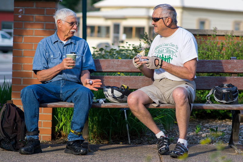 Jon Platt, left, and Jon Kalamen participated in Bike to Work Day Wednesday June 22, 2016. Kalamen is retired, but came out with his friend Platt on his way to work and sat down to have breakfast before heading off. <br /> <br /> Photo by Michael Ortiz/ Loveland Reporter-Herald