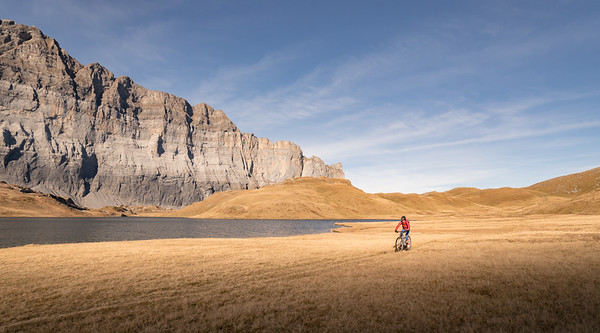 Valentine Fabre at sunrise by Lac d'Anterne, France