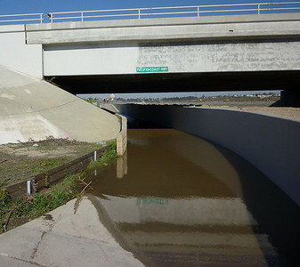Flooded passage under PCH at the Santa Ana river - January 2010.