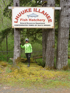 Shirley at Fish Hatchery sign
