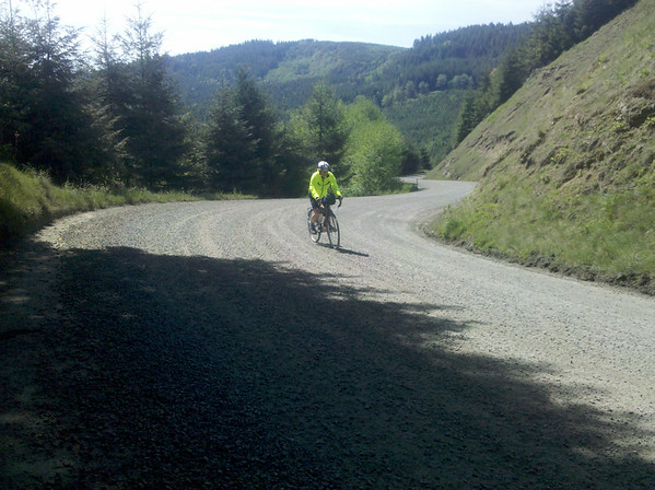 John navigating the gravel