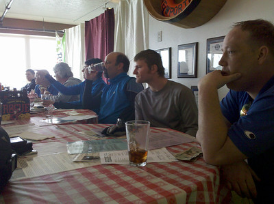 From right - John Smith, Adam, Tom, Barbie, Bev, Morris, and someone not in our group - at the Rogue Brewery