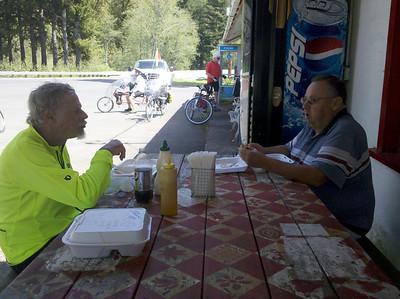 John and Chuck enjoying lunch at Logsden