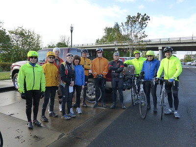The group at the ride start under the bridge at Corvallis