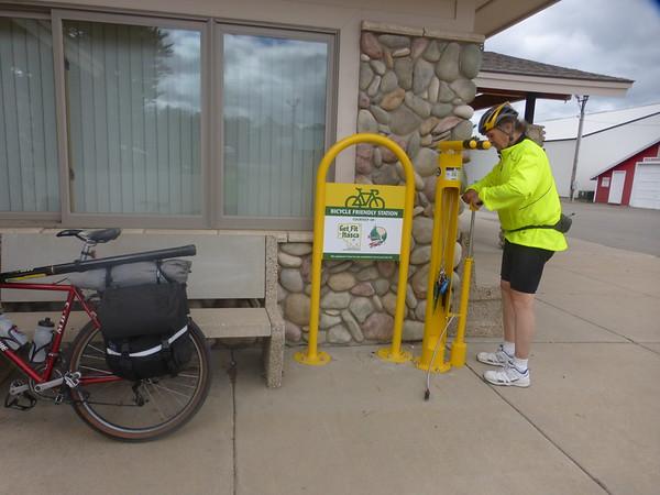 Al checks out the handy bike pump and tool station