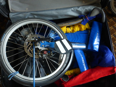 Packing the Bike Friday into the suitcase