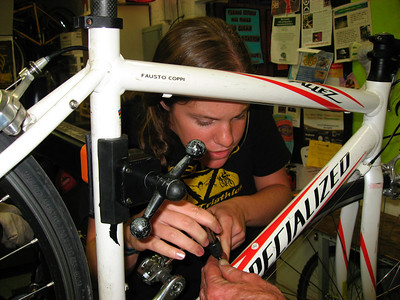 Kristina fixing her bottle cage