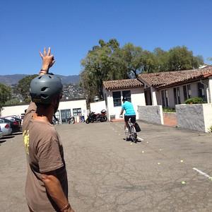 Practicing handling skills on parking lot