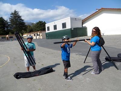 Lori working with 2 kids from Adams School