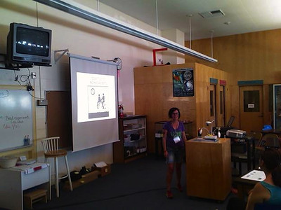Carmen doing a presentation in Spanish (photo taken by Barry Remis)