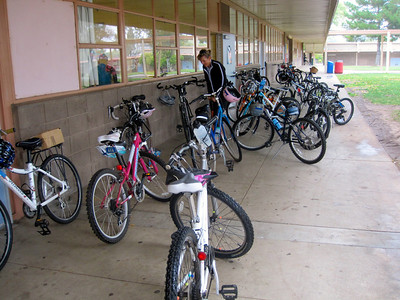 Bikes in front of Ms Newhouse's classroom. Thank you Wendy for generously opening your classroom to the group of bikers!
