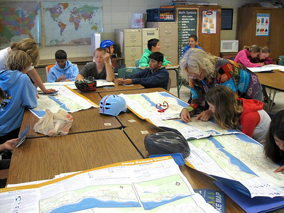 Last day of camp: reading a bike map, finding the best route... Thank you to Ms Newhouse for letting us use her classroom during the week long cycling camp!
