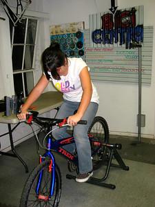 Diana is testing her bike
