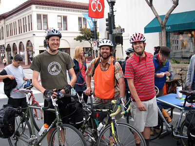 From left to right: Eric, Mike and York lead the 11 participants to this CycleMAYnia event on State St.