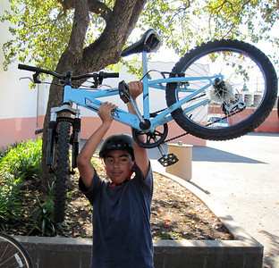 Showing off his bike