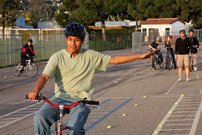 Riding skills on the parking lot at Santa Barbara Junior High School