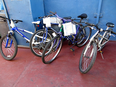 "Donated bikes with a description of the ""issues"" to fix.  Thanks to Karen for her hard work!"